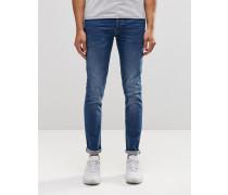 Schmale Jeans mit verdeckter Knopfleiste Blau