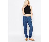 Jeanshose mit elastischer Taille Blau