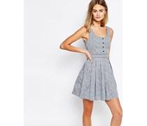 Vorne geknöpftes Kleid mit Vichykaro Marineblau