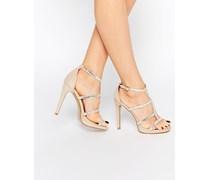 Verzierte Riemchen-Sandalen mit hohem Absatz in Nude Gold