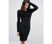Figurbetontes Kleid aus Rippstrick Schwarz