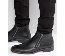 Maccabee Lederstiefel mit Reißverschluss Schwarz