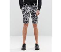 Enge schmale Shorts mit Leopardenprint Schwarz