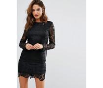 Kleid mit Häkelärmeln und Wasserfalldesign hinten Schwarz