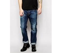 Waykee 806U Gerade geschnittene Jeans in mittlerer Waschung Blau