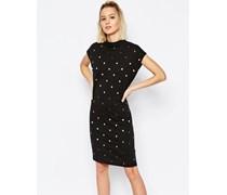 Kleid mit Mond-Print Schwarz