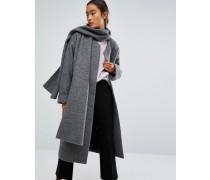 Mantel mit Schal Grau
