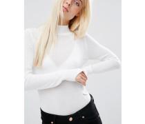 Rollkragenpullover aus weicher Wolle Weiß