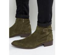 Chelsea-Stiefel in Khaki mit Riemen-Detail Grün
