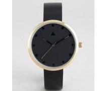 Minimalistische Armbanduhr in Onyxschwarz mit farblich abgesetztem Gehäuse Schwarz