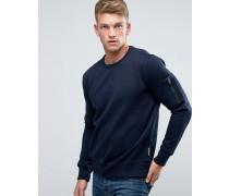 Sweatpullover mit Rundhalsausschnitt und Tasche auf dem Arm Marineblau