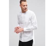 Grimm Weißes, kragenloses Hemd mit verlängerter Rückenpartie, reguläre Passform Weiß