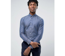 Elegantes Hemd mit Tupfenmuster Marineblau