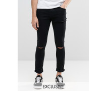 Brooklyn Supply Co Dyker Sehr enge Skinny-Jeans in verwaschenem Schwarz mit Schlitzen an den Knien Schwarz