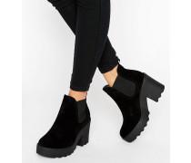 Klobige Chelsea-Stiefel mit Absatz Schwarz