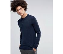 Jaylen Langärmliges Strickpoloshirt aus Merinowolle Marineblau