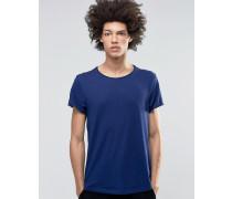 Jon Marineblaues T-Shirt aus weichem Jersey mit breitem Ausschnitt Marineblau
