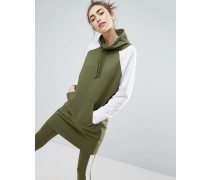 Sweatshirt-Kleid in Farbblock-Optik Grün