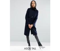 Mantel aus Wollmischung mit Kunstpelzkragen und Gürtel Marineblau