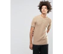 Gestricktes T-Shirt aus Merinowollmischung mit Grandad-Kragen Beige