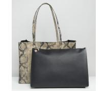 Shopper-Tasche mit strukturierter Schlangen-Optik und kontrastierender, abnehmbarer Clutch Mehrfarbig