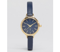 Klassische Uhr mit schmalem Armband Marineblau
