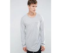 Lang geschnittenes Langarmshirt mit Tasche Grau