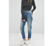 Manderston Schmal zulaufende Girlfriend-Jeans Blau