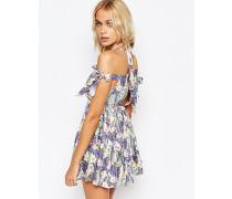 Pastellfarbiges geschnürtes Strandkleid mit Tropenprint Mehrfarbig