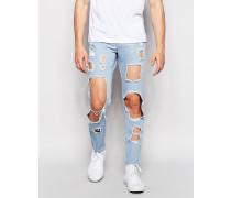 Brooklyn Supply Co Enge Jeans mit Cutouts in heller Waschung Blau