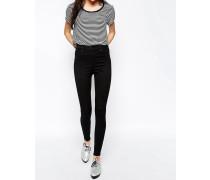 Oki Deluxe Schmale Jeans mit hoher Taille Schwarz