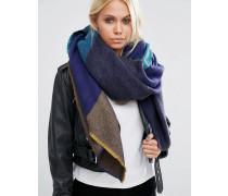 Übergroßer, rechteckiger Schal mit Karomuster Blau