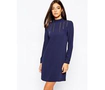 Christina Marineblaues Kleid mit Zierlaufmaschen Marineblau