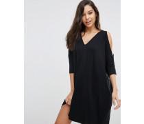 Weites Kleid mit Schulterausschnitten Schwarz