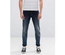 Enge Stretch-Jeans in blau-schwarzer Waschung Blau