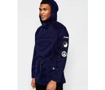 Moleskin-Mantel mit Aufnähern Marineblau