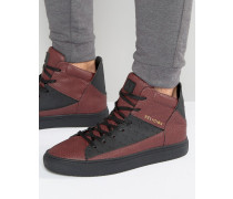 League Sneaker mit hohem Schaft in Schlangenlederoptik Rot