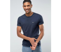 Marineblaues T-Shirt mit Noppen und Tasche in schmaler Passform Marineblau