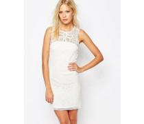 Weißes, ärmelloses Kleid mit Häkeldesign Weiß