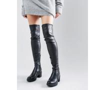 Overknee-Stiefel mit robustem Absatz Schwarz