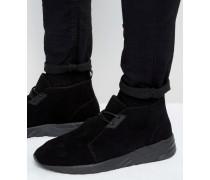 Geschnürte Sneaker aus schwarzem Wildleder Schwarz