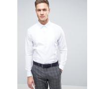 Schmales, elegantes Hemd mit Latzeinsatz Weiß
