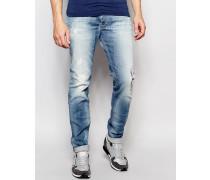 Jeans Sleenker DNA 672I Schmale, ausgewaschene Stretch-Jeans mit Flicken Blau