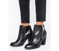 Stiefel mit Absatz und seitlichem Reißverschluss Schwarz