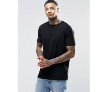 Langes, schwarzes T-Shirt mit kurzen Ärmeln Schwarz