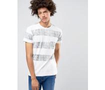 Solid Rundhals-T-Shirt in verwaschenen Blockstreifen Weiß