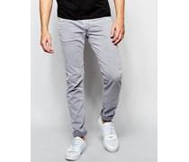 Anbass Schmale Stretch-Jeans mit hellgrauer Overdye-Waschung Grau
