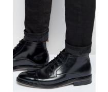 Baise Schnürstiefel aus Leder Schwarz