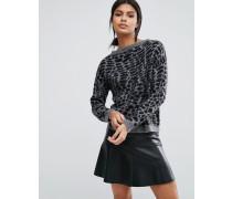 Pullover mit Tierfelltextur Schwarz