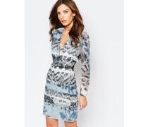 Valetta Wickelkleid mit Muster-Mix Blau